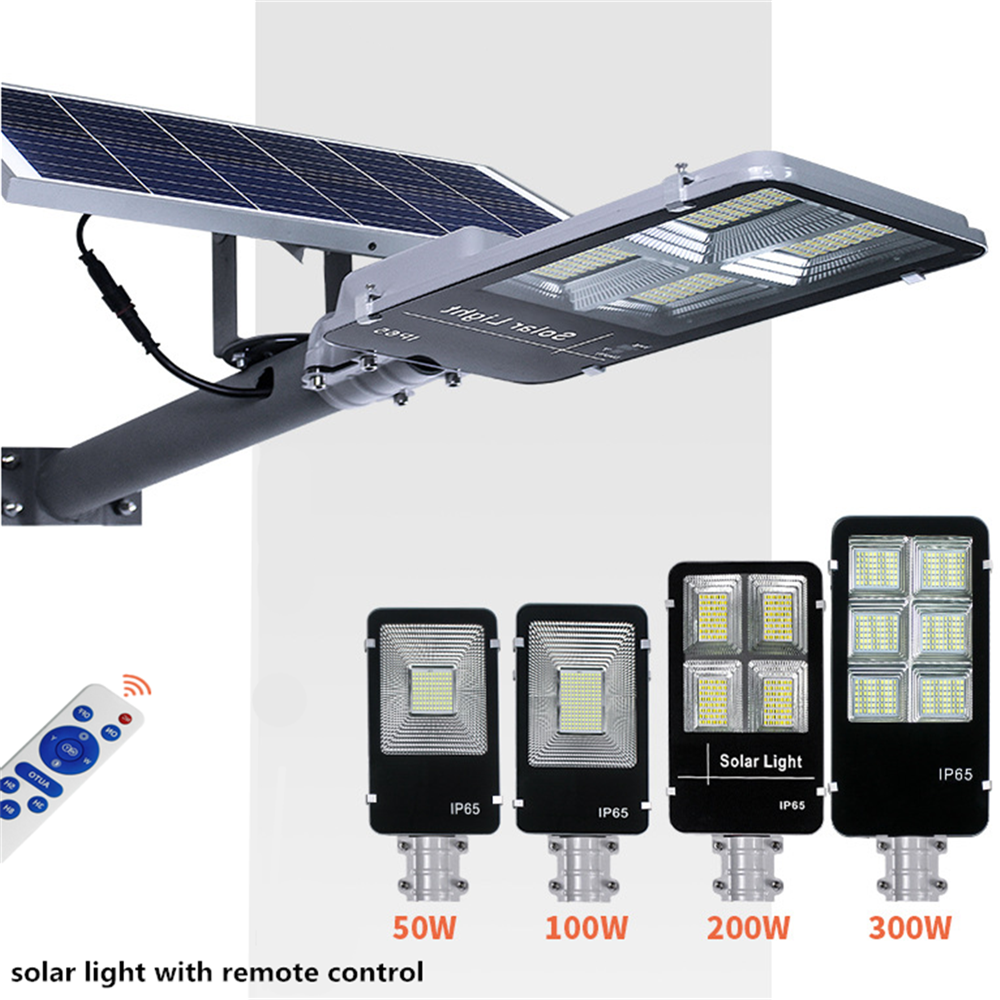 50W/100W/200W/300W LED Solar Light Outdoor High Bright Solar Street Light Remote Control IP65 Pathway House Security Wall Light