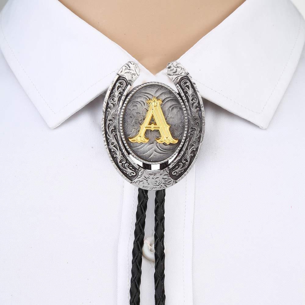 Vintage Gold Letter ABCDEFG-Z U Shape Bolo Tie For Man Indian Cowboy Western Cowgirl Leather Rope Zinc Alloy Necktie