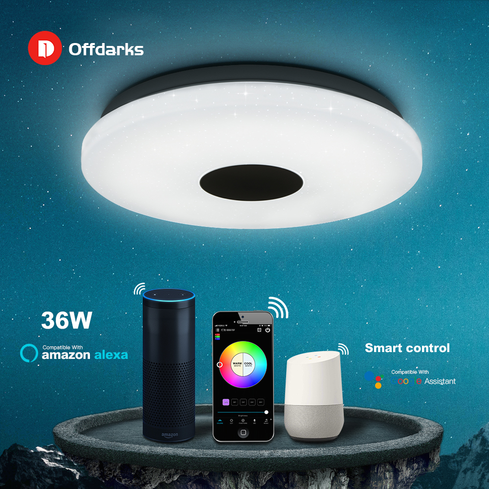 OFFDARKS Smart Modern Ceiling Light wifi Voice Control Suitable for living room bedroom kitchen, dimming color LED ceiling lamp