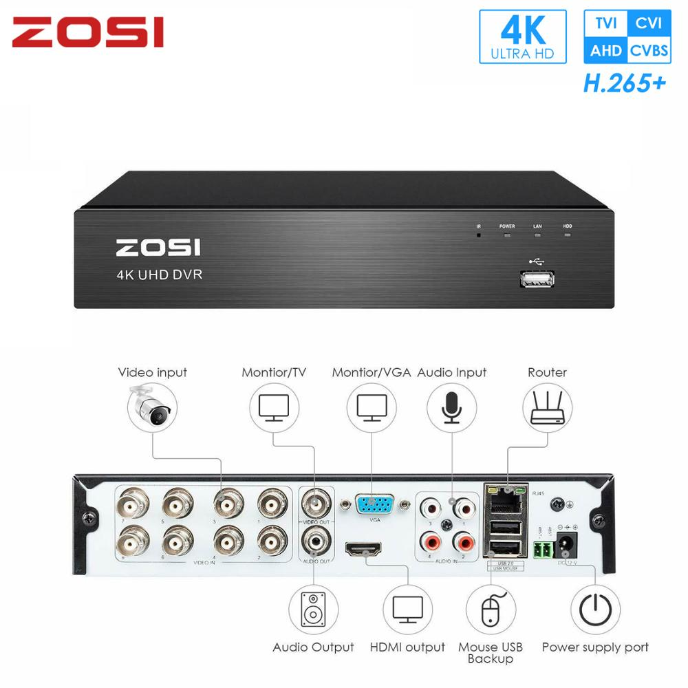 ZOSI 4K Ultra 8CH CVBS AHD TVI CVI HD H.265+ Security DVR System For 8MP 100ft Night Vision Security Camera