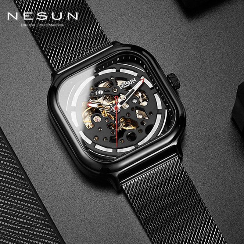 Nesun الهيكل العظمي الميكانيكية ووتش رجل الأزياء للماء التلقائي مربع الساعات سويسرا الفاخرة العلامة التجارية Relogio Masculino 9500-في الساعات الميكانيكية من ساعات اليد على  مجموعة 1