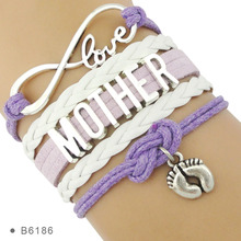 Infinity Love Family Mom Mother Baby Shower Father Papa Dad Children Bracelets for Women