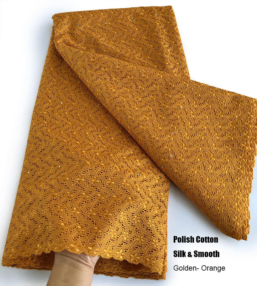 golden orange Intricate eyelet embroidery African Swiss voile lace Real polish cotton fabric excellent high quality 5 yards Soft