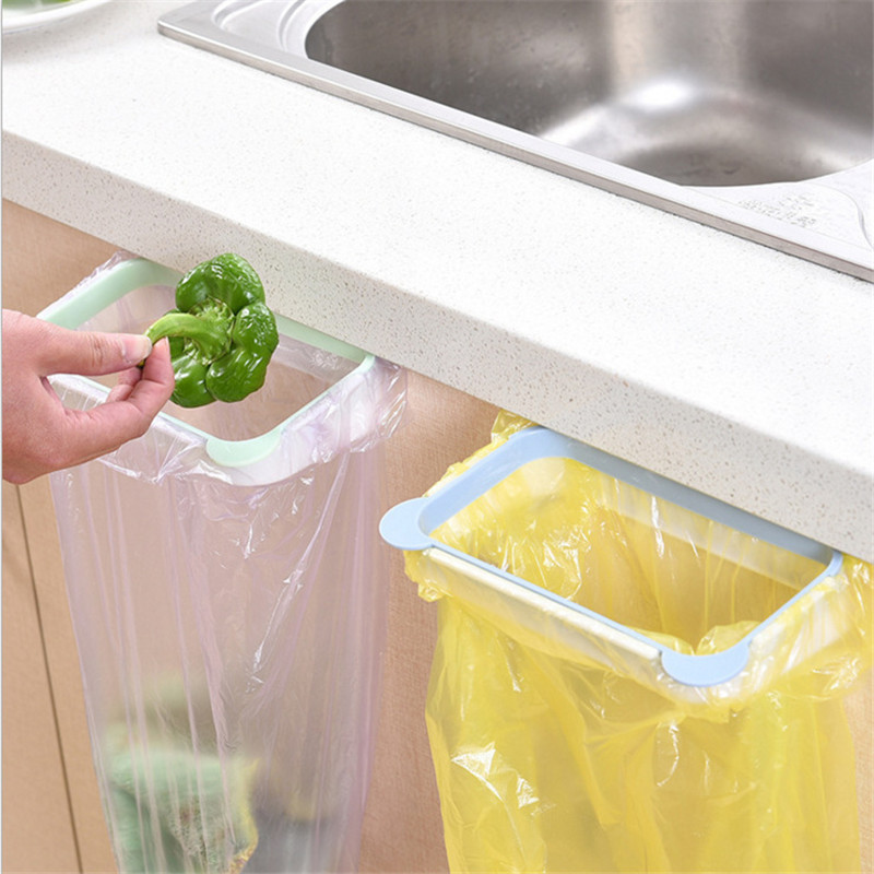 Shelf Kitchen-Accessories Gadgets-Tools Garbage-Bag-Holder Cabinet Door-Trash-Rack Hanging-Storage title=