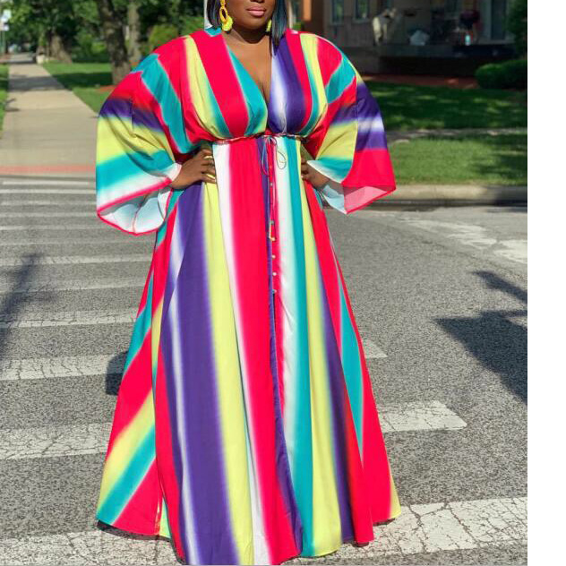 Plus Size African Dresses for Women Spring Autumn Long Sleeve Deep V Neck Colorful Print Floor Length Evening Night Club Dresses
