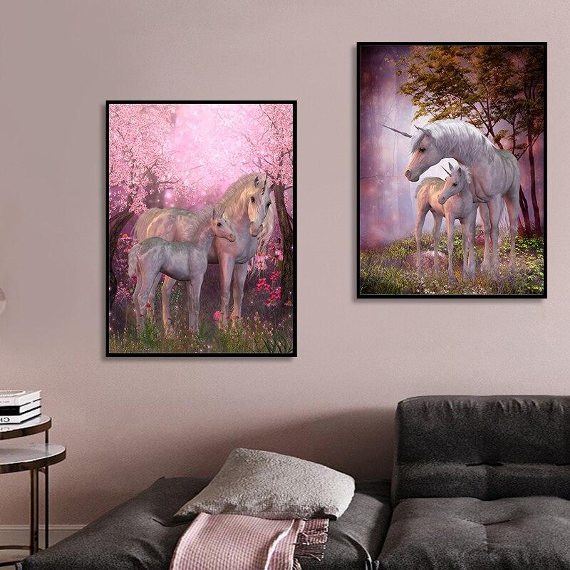 Настенная картина с изображением розового цветка дерева чудес единорога