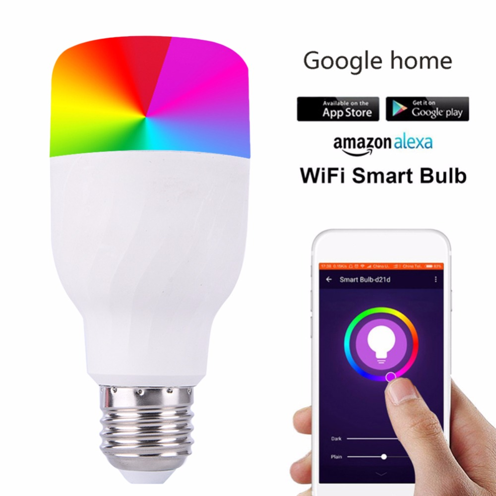 E27/B22 Smart WiFi Light Bulb LED Lamp Dimmable RGBW Colorful Smart Home Automation Works With Google Home Mini Alexa