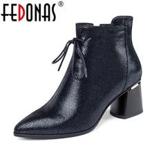 FEDONAS/осень зима; теплые пикантные женские ботильоны из синтетической кожи с принтом животных; обувь на молнии; женские вечерние полусапожки