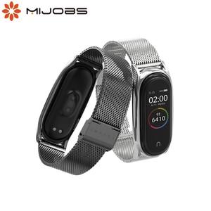 Image 1 - NFC Global Correa Mi Band 5 Strap Bracelet For Xiaomi Mi Band 4 Metal Stainless Steel Mi Band 3 Strap Smart Wristband Mi Band 5