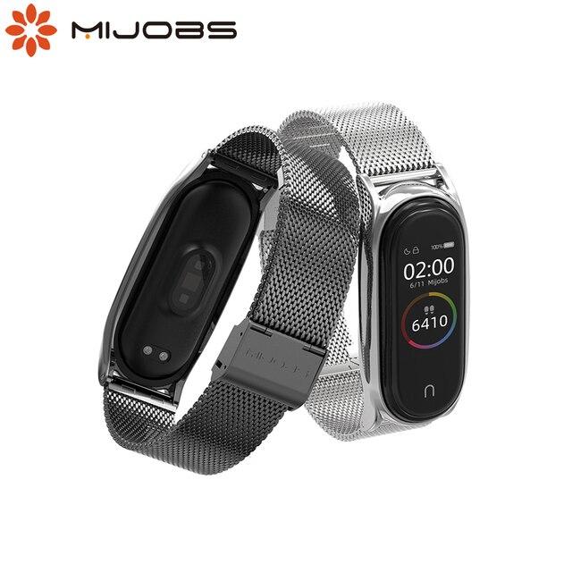 NFC Global Correa Mi Band 5 Strap Bracelet For Xiaomi Mi Band 4 Metal Stainless Steel Mi Band 3 Strap Smart Wristband Mi Band 5