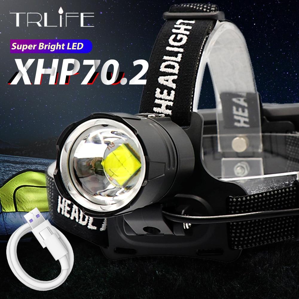 10000LM Xlamp XHP70.2 Led Headlamp  USB Rechargeable XHP50 Headlight Super Bright V6 Hunting Cycling Lamp Waterproof Use 18650