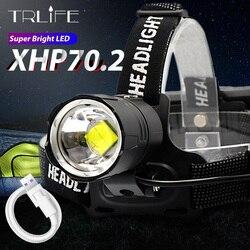 Xlamp XHP70.2 lampa czołowa led USB akumulator XHP50 reflektor Super Bright V6 lampa rowerowa myśliwska wodoodporna 18650