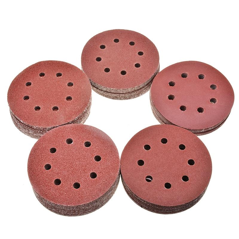 125Pcs 125mm Sanding Discs 40/60/80/120/240Grit Orbital Sander Pads Disk Flocking Sandpaper For Metal Wood Grinding Polishing