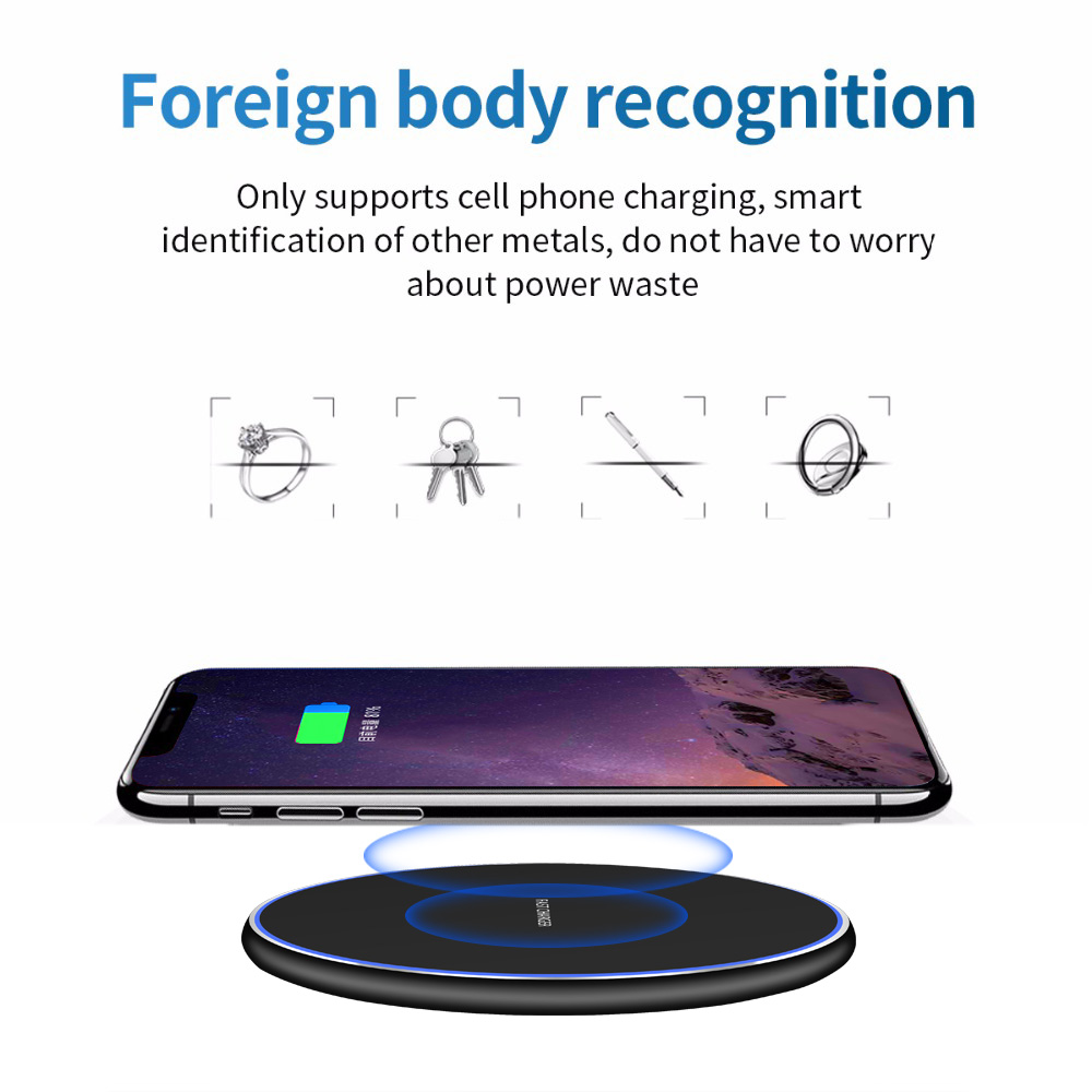 Image 5 - Baseuer 10W Wireless Charger LED Breathing Light Qi Fast Wireless Charging Pad For iPhone X XS 8 Samsung Huawei P30 Xiaomi-in Wireless Chargers from Cellphones & Telecommunications