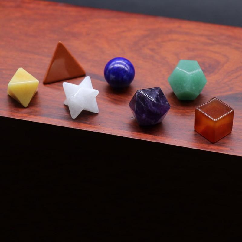 Natural Stone 7pcs Colourful Platonic Solids Geometric Set Chakra Reiki Healing CrystalReiki Stone For Healing Meditation