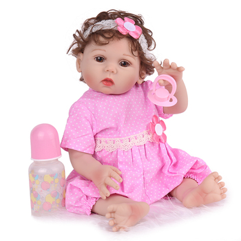 45cm Full Silicone Princess Reborn Baby Doll Bebe Princess Girl Babies Toddler Dolls Birthday Gift Bathe Toy