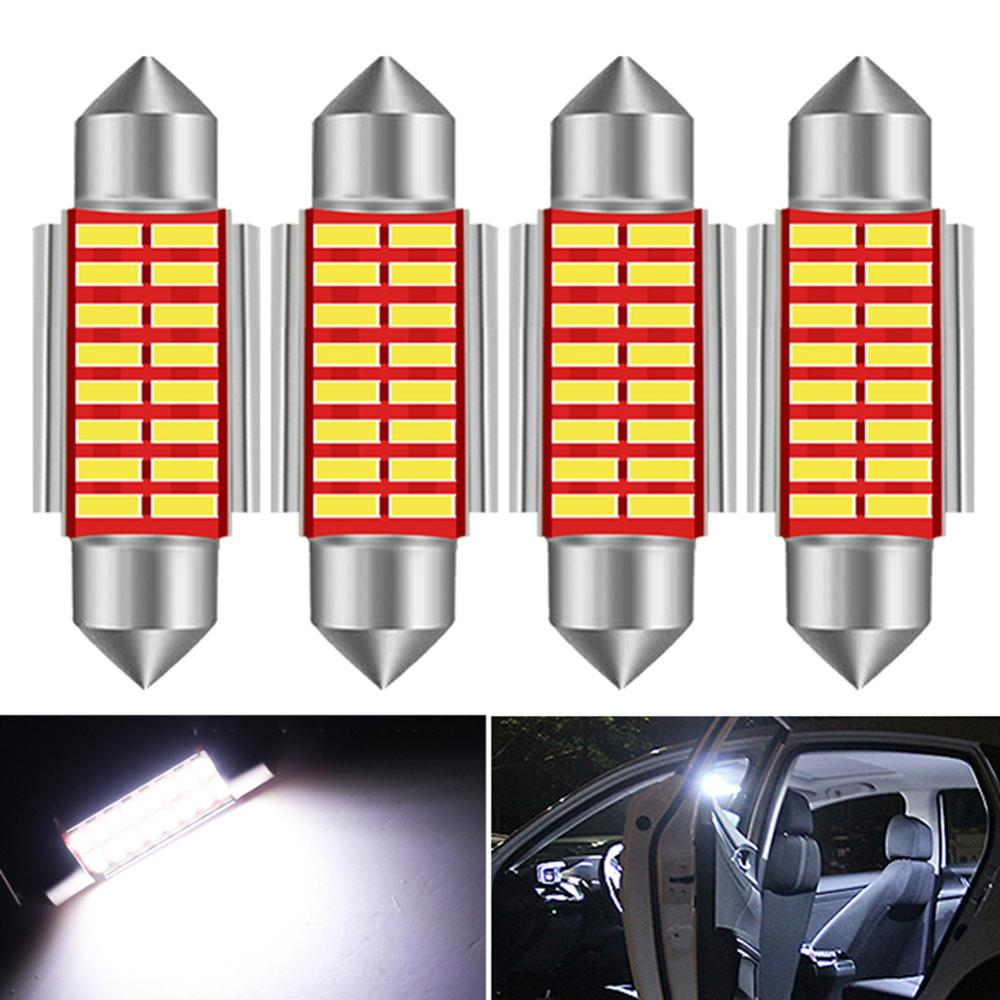 4x C5W <font><b>LED</b></font> <font><b>Bulb</b></font> CANBUS Festoon 31mm 36mm 39mm 41mm C10W Car Interior Light License Plate Reading Lamp 4014 SMD 6000K White 12V image