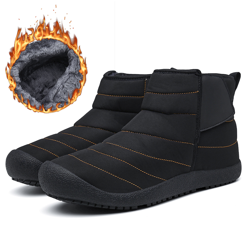 Shoes Men Winter Warm With Fur Plush Leather Casual High Quality Ankle Women Men Snow Boots #XW1921