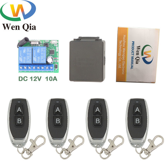 433MHz Universal Wireless Remote Control DC 12V 10Amp 2CH rf Relay receiver and Transmitter Remote Garage door and Shutter door