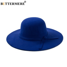 BUTTERMERE Ladies Woolen Fedoras Hat Royal Blue Winter Elegant Vintage Hats With A Wide Brim British Bow Tie Felt Womens