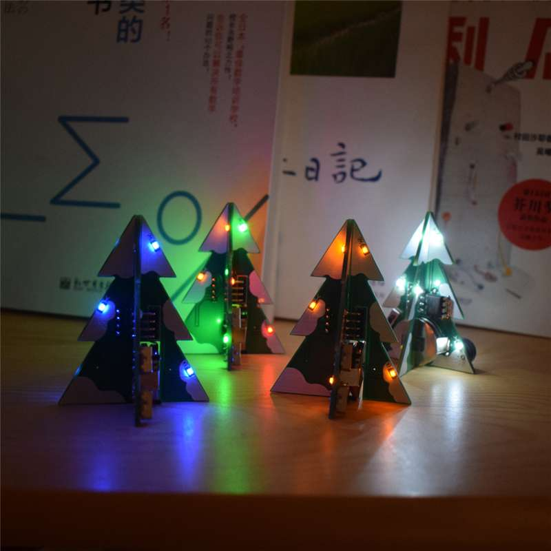 3D Mini SMD PCB Stereo Christmas Tree DIY Kit Music For Holiday Decoration Jingle Bells Night Lamp Desk Light Childern Gift