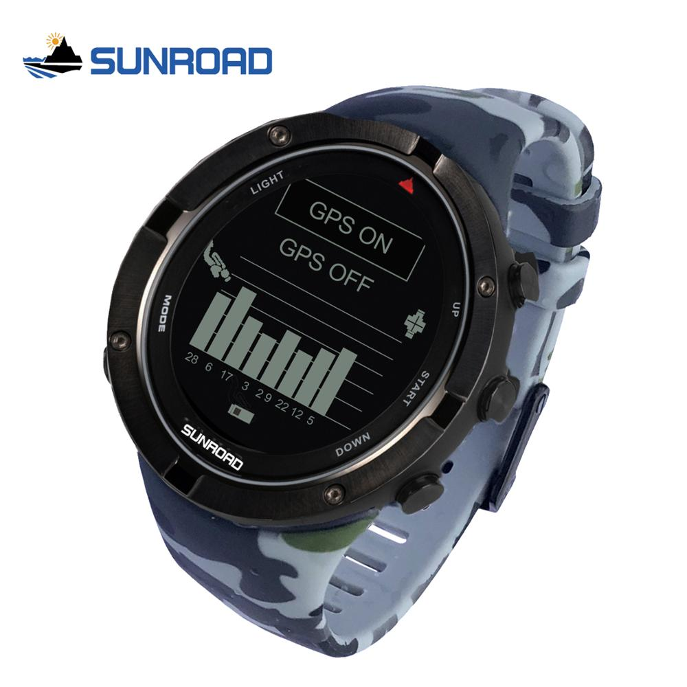 Sunroad 2020 New Military Smart Sports Watch GPS Heart Rate Altimeter Compass Run Swim Bicycle Speed Waterproof Men Wristwatches