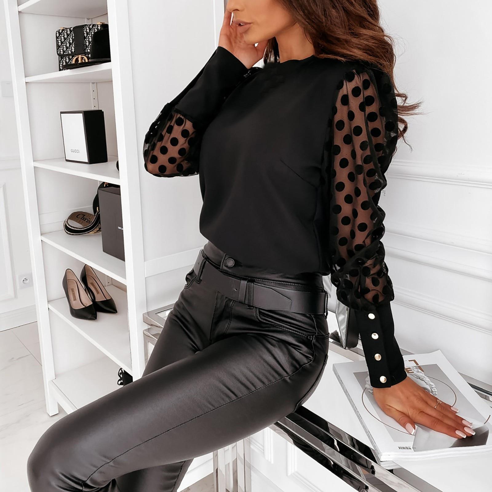 40 # женские кружевные блузки с пышным длинным-рукавами Повседневное свободные блузы с круглым вырезом, с узором в горошек женские офисные ру...
