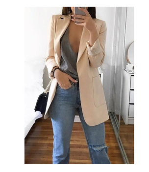 CINESSD Office Lady Blazer Coats Lapel Long Sleeve Solid Cardigan Jackets Black Plus Size Lining Pocket Suits Blazer 17 Colors 1