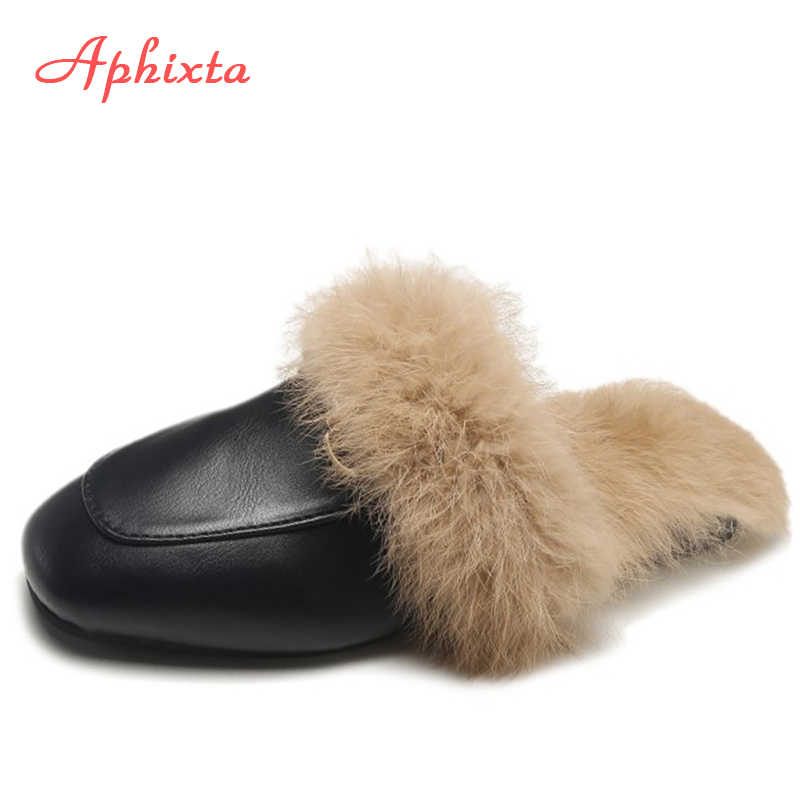 Aphixta Thực Lông Dép Giày Người Phụ Nữ 2019 Con La Nữ Lông Dép Giữ Ấm Mùa Đông Nữ Giày Dép Thời Trang Tóc Thỏ