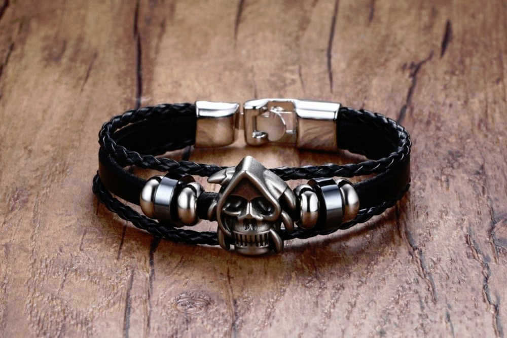 Mens Bracelets Braided Faux Leather & Skull Beaded Bracelet In Black Alloy Wristband Cuff Bangle Men Vintage Jewelry Accessories Pulseira Masculina 17