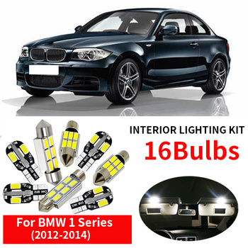 16x White Canbus Car LED Light Bulbs Interior Package Kit For 2012 2013 2014 BMW 1 Series F20 Error Free Map Step Courtesy Light 11pcs error free white premium led interior light kit package for 2006 2012 toyota rav4 installation tools