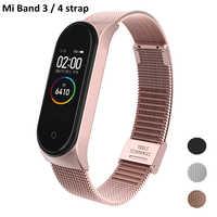 Mi Band 3 4 Strap Rose Gold Screwless Stainless Steel Bracelet Strap Wristband Miband3 Pulseira For Xiaomi Mi Band 3 Band4 Wrist