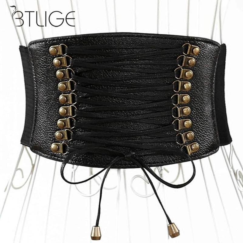 Fashion Wide Belts For Women Corset Belt Pu Elastic Tassel Wide Belt Decorating Skirt Accessories Female Decorations
