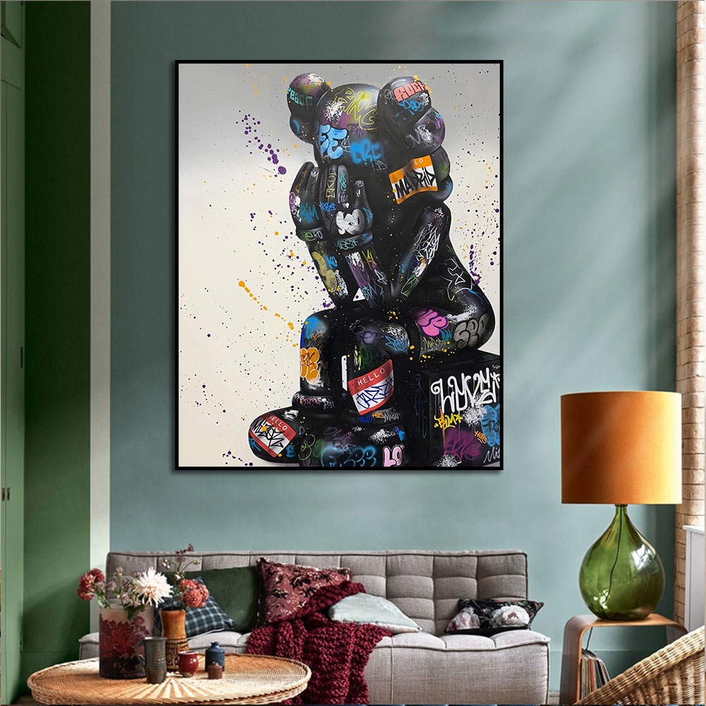 Pop Street Art Graffiti Thinking Painting Canvas Print Wall Picture For Living Room Decoration Home Decor Nordic Frameless