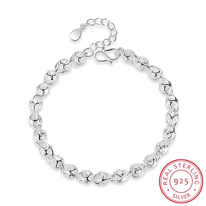 Hot Sale Hollow Ball Bracelet For Women Girl 925 Sterling Silver Bracelet Christmas Gift S-B201