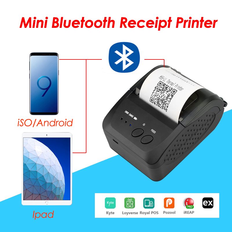 Portable Mini Bluetooth Printer Thermal Receipt Ticket Printer For Mobile Android IOS Phone 58mm Bill Machine For Store