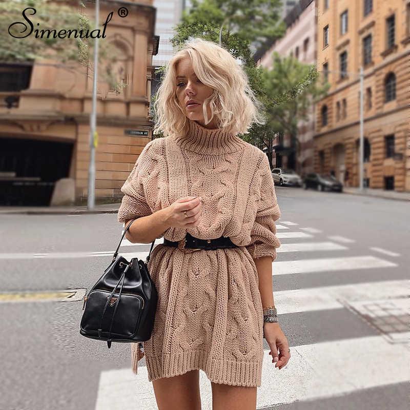 Simenual 2019 осенний трикотаж платье женское с длинным рукавом модное зимнее платье-свитер повседневное твист водолазка однотонное тонкое платье