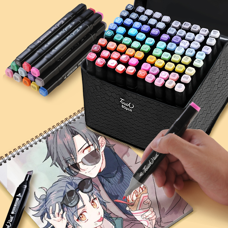 Touchlilt 30/40/60/80/168 Color Art Markers Manga Drawing Markers Pen Alcohol Based Sketch Oily Dual Brush Pen Art Supplies