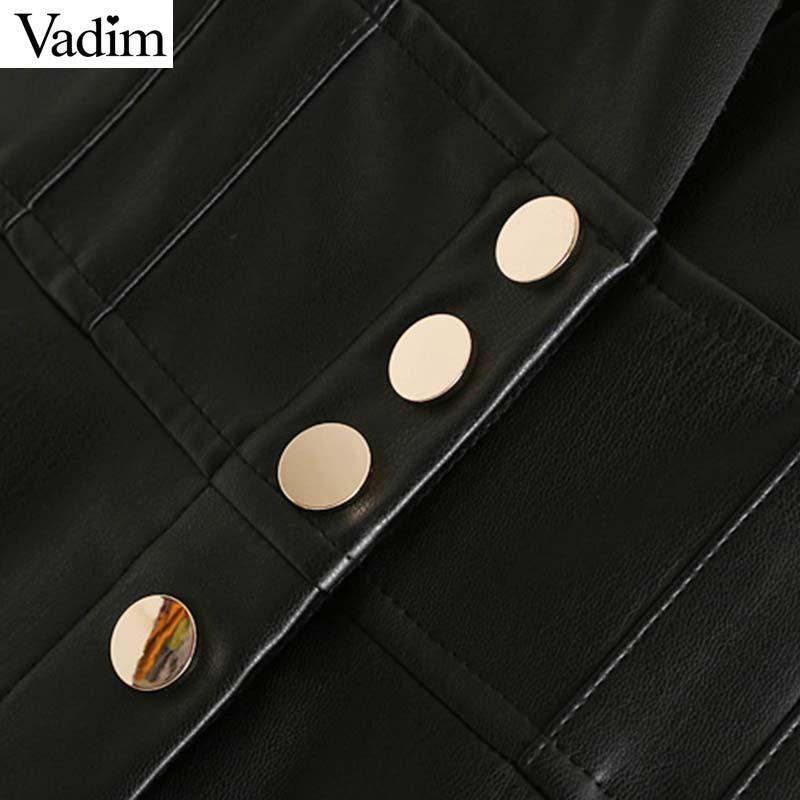 Image 4 - Vadim women chic PU leather midi skirt buttons decorate female basic stylish black A line mid calf skirts mujer BA804Skirts   -