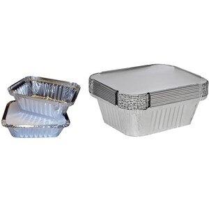 50 прочные одноразовые подносы с серебряными коробками, серебряными контейнерами, стеллажи для хранения еды для гриля полезный инструмент д...