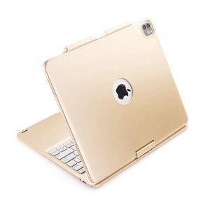 Image 4 - Housse de protection avec clavier, pour iPad Pro pivotant à 12.9 à 2018 degrés, rétroéclairage LED sans fil Bluetooth, avec clavier russe, espagnol et hébreu