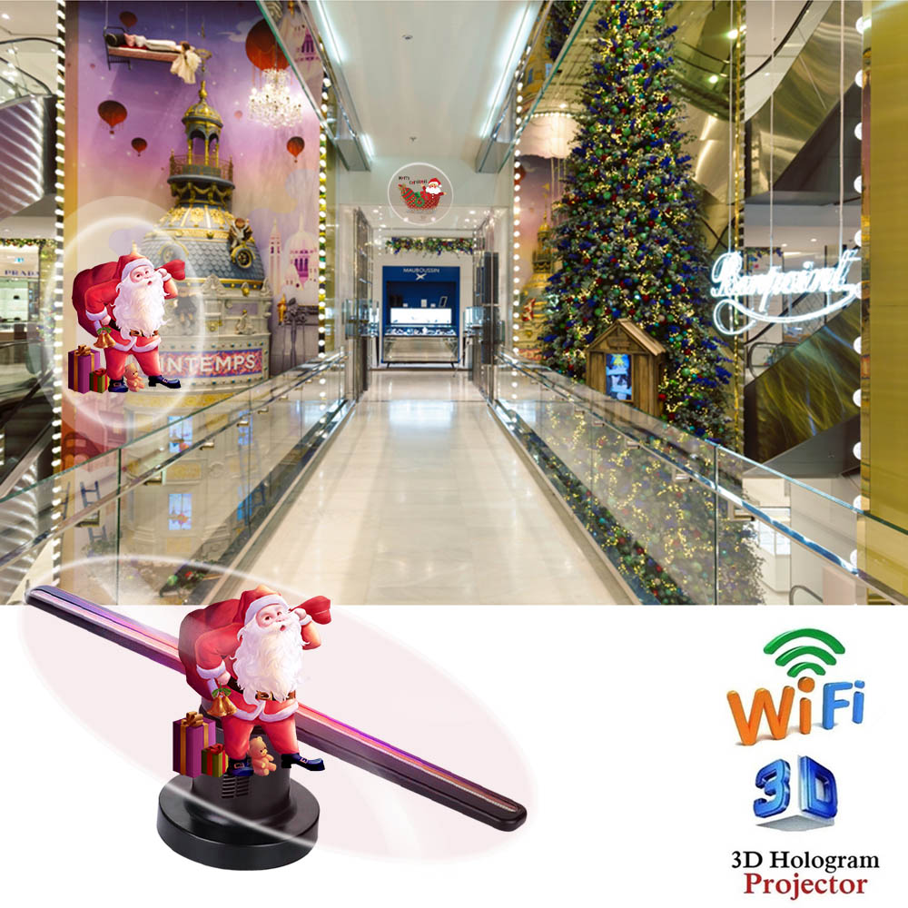 Wifi 3d holograma projetor ventilador com 16g tf holográfico display 224 leds decorações de festa hologramas led 42cm loja sinais engraçado