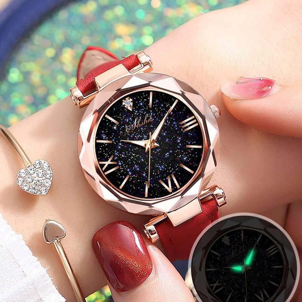Saatleri 女性腕時計ナイト蛍光発光ユニセックス星ポイントつや消し革ベルト腕時計ドットローマスケール腕時計
