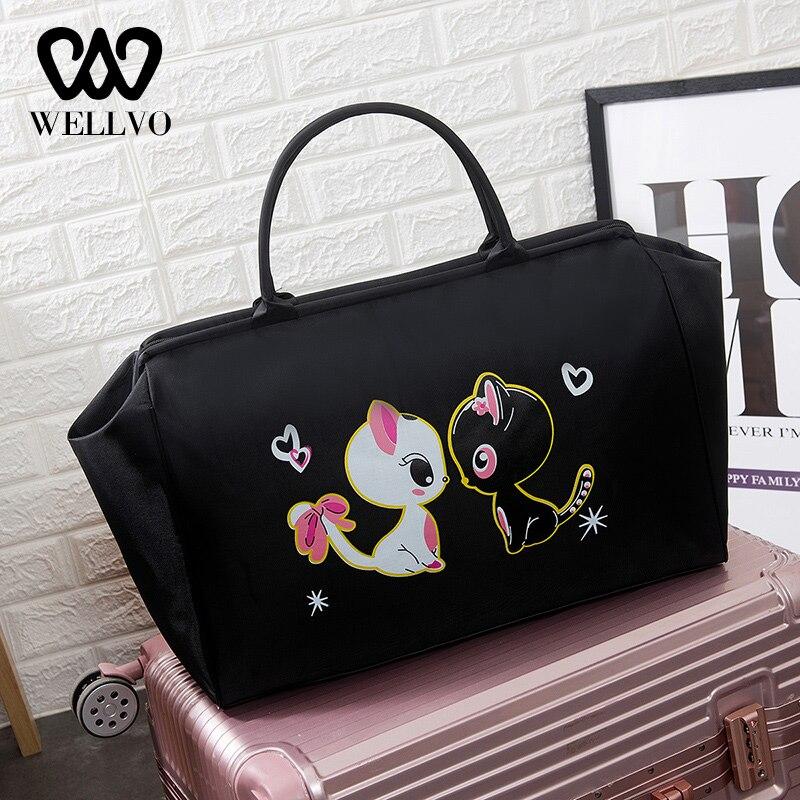 Women Cat Travel Bags Handbag Big Waterproof Fitness Shoulder Bag Weekend Voyage Duffle Sac De Casual Overnight Bags XA308WB