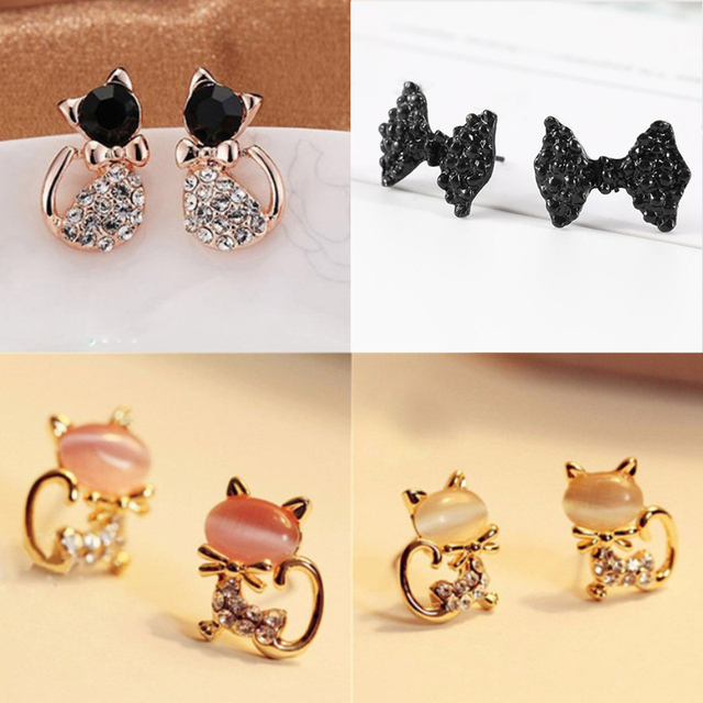 Gold Color Bowknot Cube Crystal Earring Square 6
