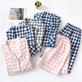 Short Pyjamas Women 100% Cotton Sleeves Ladies Pajama Sets Shorts Japanese Simple Cute Cartoon Sleepwear Homewear