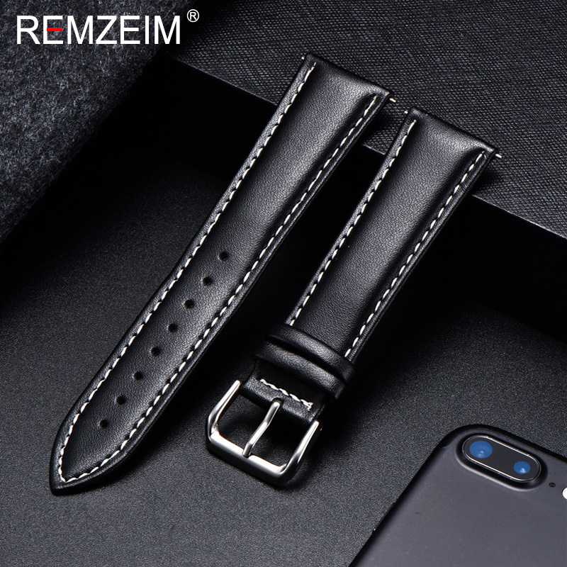 REMZEIM Calfskin Leather Watchband Soft Material Watch Band Wrist Strap 18mm 20mm 22mm 24mm With Silver Stainless Steel Buckle
