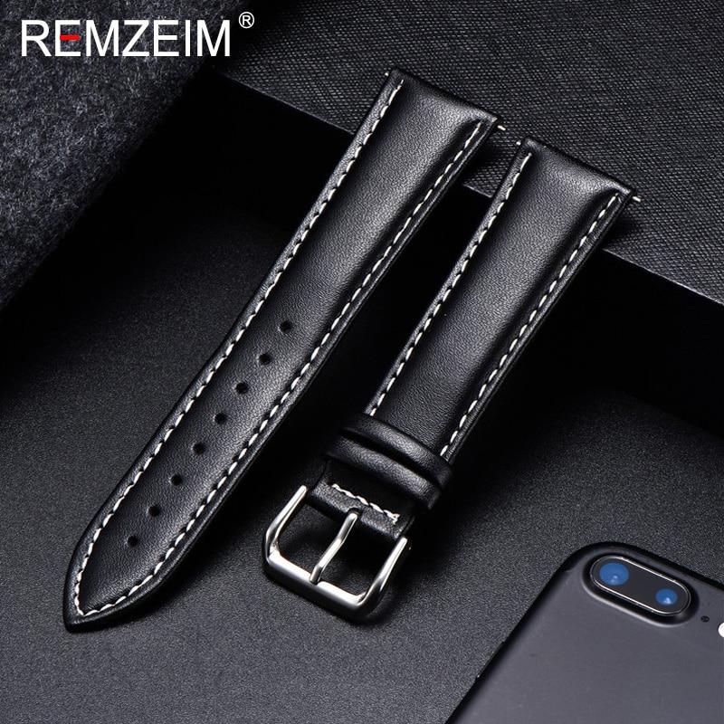 Remzeim calfskin pulseira de couro material macio relógio pulseira de pulso 18mm 20mm 22mm 24mm com fivela de aço inoxidável prata