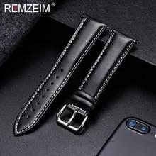 Watchband Buckle Wrist-Strap Soft-Material Stainless-Steel Silver 18mm 20mm Calfskin