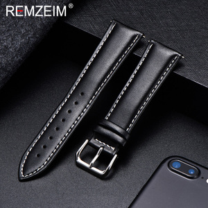 REMZEIM Calfskin Leather Watchband Soft Material Watch Band Wrist Strap 18mm 20mm 22mm 24mm With Silver Stainless Steel Buckle(China)